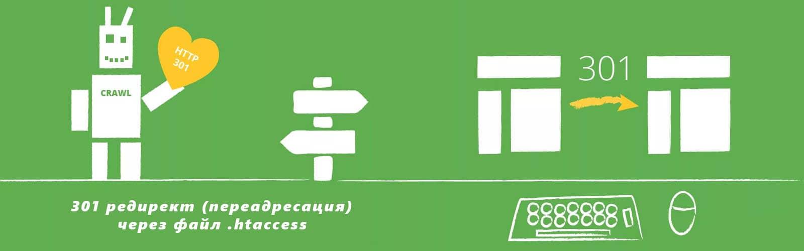 301 редирект (переадресация) через .htaccess